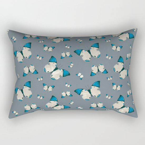 Spring Butterfly (Blue Pattern) Rectangular Pillow
