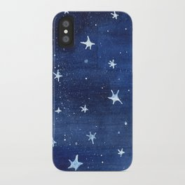 Midnight Stars Night Watercolor Painting by Robayre iPhone Case
