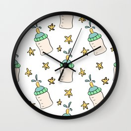 Hand drawn baby bottle and stars. Wall Clock