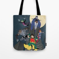 teen titans Tote Bags featuring Teen Titans by Fuacka