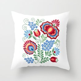 Moravian Folk Design Red Throw Pillow