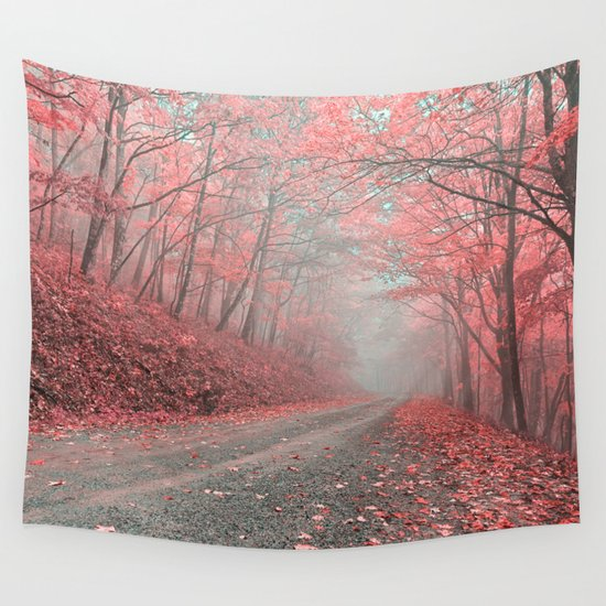 Pink Wall Tapestry misty forest road - tickle me pink wall tapestrynicolas