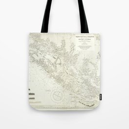 Vintage Map Print - Admiralty Chart No 1917 Vancouver Island & Shores of British Columbia, 1865 Tote Bag