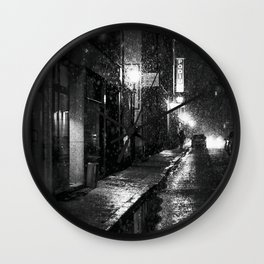 Nightlife district with snowfall № V Wall Clock