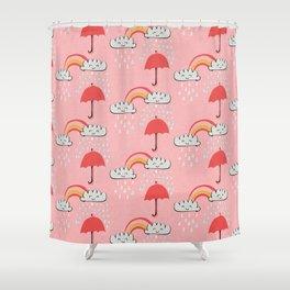 April showers rainbow Clouds Pink #nursery Shower Curtain
