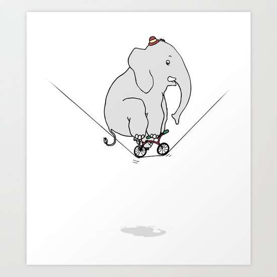 Elephant on a wire Art Print