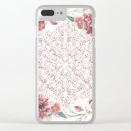 Mandala Garden Roses Warm Rose Gold Clear iPhone Case