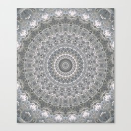 Mandala in white, grey and silver tones Canvas Print