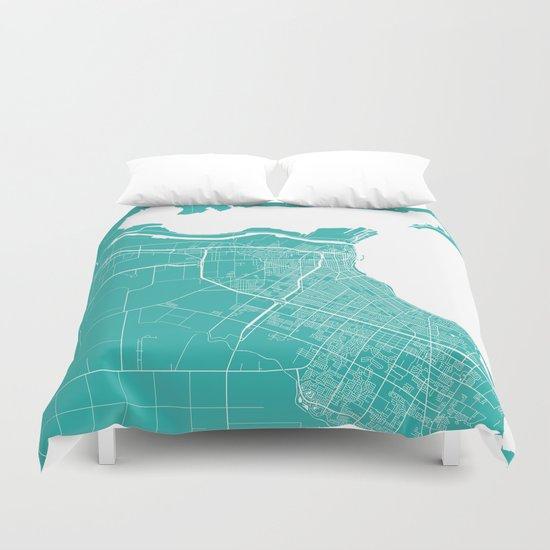 Corpus Christi map turquoise Duvet Cover