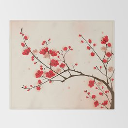 Oriental plum blossom in spring 009 Throw Blanket