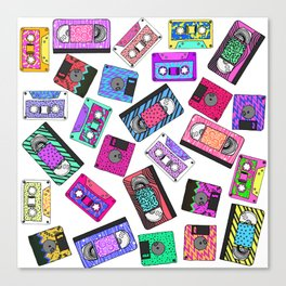 Retro 80's 90's Neon Patterned Cassette Tapes Canvas Print
