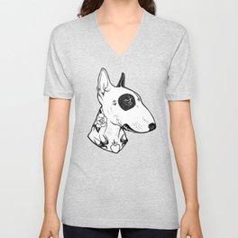 Bull Terrier dog Tattooed Unisex V-Neck
