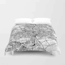 Madrid White Map Duvet Cover
