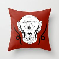 cyclops Throw Pillows featuring Cyclops by Jorge Daszkal