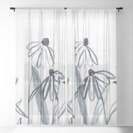 Botanical line work illustration Sheer Curtain