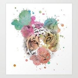 Splattered tiger Art Print