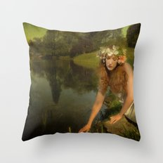 The water Maiden Throw Pillow