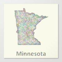 minnesota Canvas Prints featuring Minnesota map by David Zydd - Colorful Mandalas & Abstrac