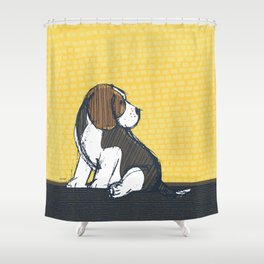 Beagle Puppy Portait by Friztin Shower Curtain