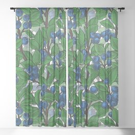 Blueberry on white Sheer Curtain