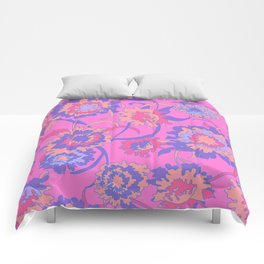Bold Tropical Floral in Neon Pink + Purple Comforters