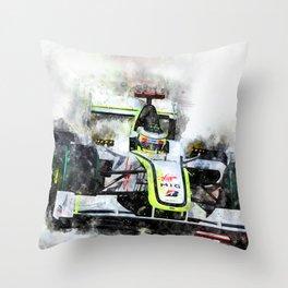 Jenson Button Brawn 2009 Throw Pillow