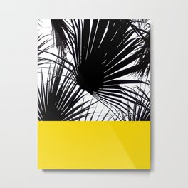 Black and White Tropical Palm Leaves on Sunny Yellow Metal Print