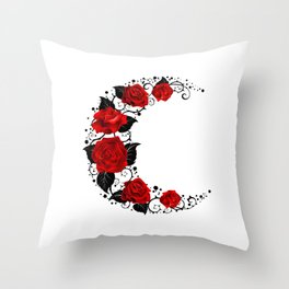 Moon of Red Roses Throw Pillow