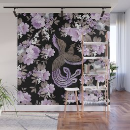 Phoenix Bird with watercolor flowers Wall Mural
