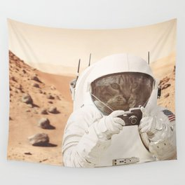 Astronaut Cat on Mars Wall Tapestry