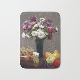 Henri Fantin-Latour Asters and Fruit on a Table Bath Mat
