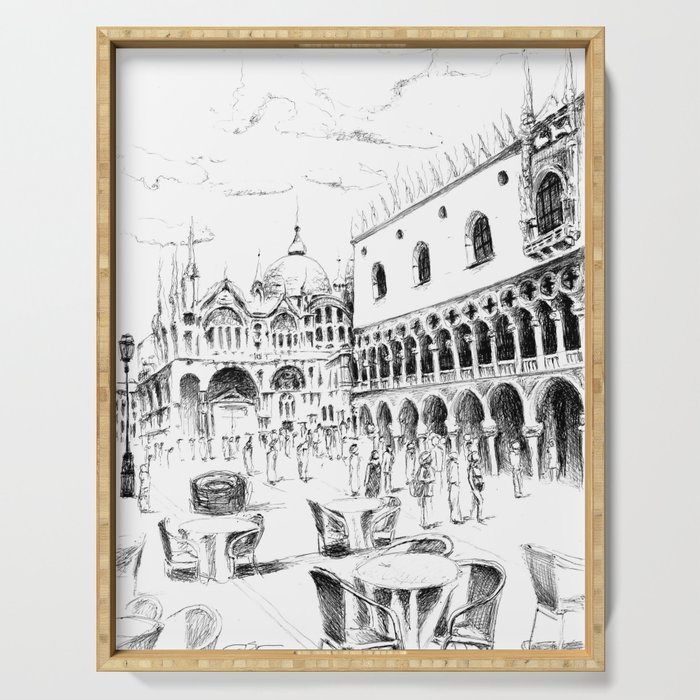 Sketch of San Marco Square in Venice Serving Tray