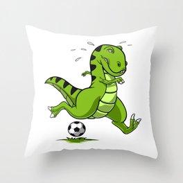 T-Rex Dinosaur Soccer Player Throw Pillow