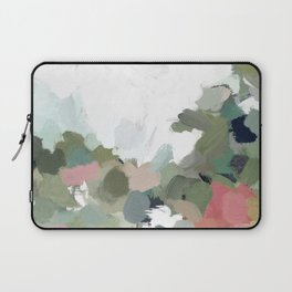 Green Mint Pink Blush Abstract Nature Art Painting Laptop Sleeve