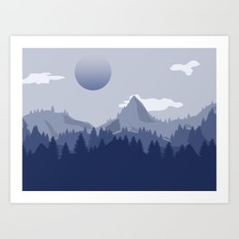 Blue Mountain Landscape Art Print