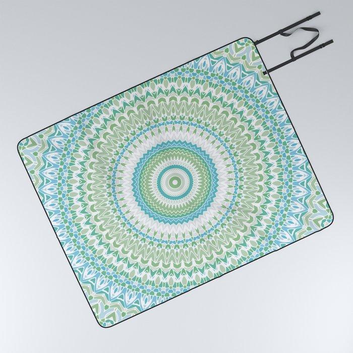 Sea Glass Mandala Picnic Blanket