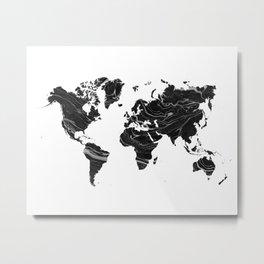 WORLD MAP • BLAC MARBLE Metal Print