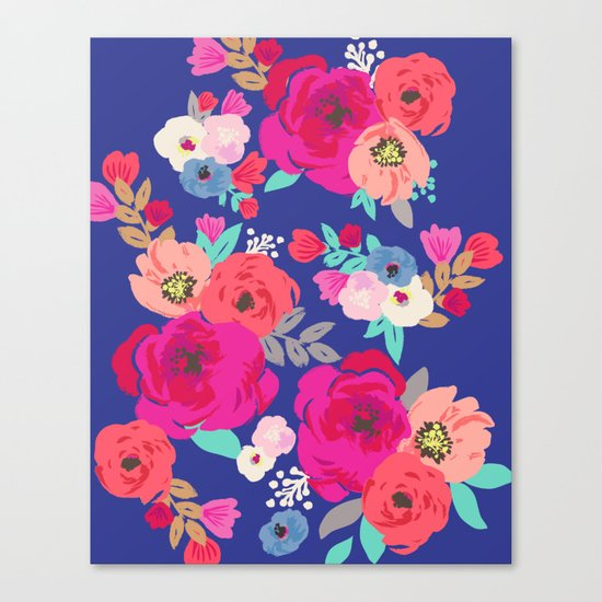Sweet Pea Floral Blue Canvas Print