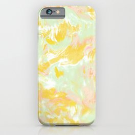 Marble Mist Yellow Green Pink iPhone Case