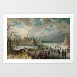 Skating on the Frozen Amstel River 1611 by Adam van Breen Art Print