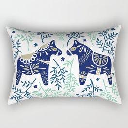 Swedish Dala Horse – Navy & Mint Palette Rectangular Pillow