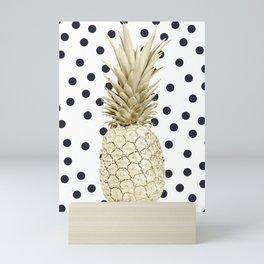 Gold Pineapple on Black and White Polka Dots Mini Art Print
