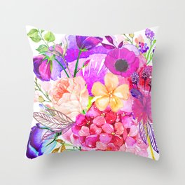 Colorful Bright Spring Floral Watercolor Collage Pillow Throw Pillow