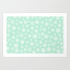 minty snow flakes Art Print
