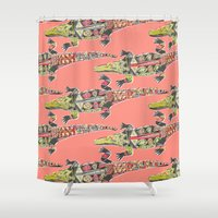 crocodile Shower Curtains featuring crocodile coral by Sharon Turner