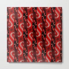 Red Curvy Stripes Metal Print