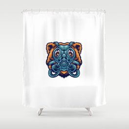 Bear Using Gass Mask Illustration Shower Curtain