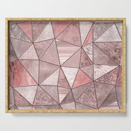 Soft Pink Coral Glamour Gemstone Triangles Serving Tray