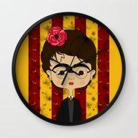 potter Wall Clocks featuring Frida Potter by Camila Oliveira
