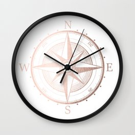 Rose Gold Compass Wall Clock